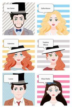 Fan art dos personagens da Série Pedida Carina Rissi ~ Ian, Sofia, Valentina, Teodora, Lucas e Elisa.