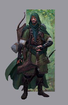 m Ranger Med Armor Cloak Longbow Sword deciduous forest farmland lg & xlg (saved) Fantasy Character Design, Character Creation, Character Concept, Character Art, Character Inspiration, Dungeons And Dragons Characters, D D Characters, Fantasy Characters, Dungeons And Dragons Art