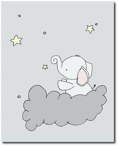 Elephant Moon and Stars Nursery Art, Pale Yellow and Gray, Set Of 3 Prints, Kids Wall Decor Elephant Nursery Art, Star Nursery, Kids Wall Decor, Art Wall Kids, Little Elephant, Baby Elephant, Nursery Prints, Nursery Decor, Drawing Block
