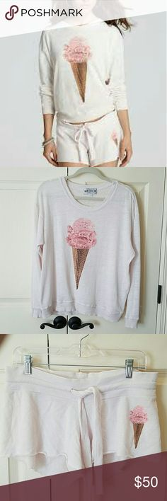 Wildfox Icecream Terry Sweatshirt & Cutie Shorts Super cute sweatshirt and matching shorts!  Made of lightweight, slubby french terry.  Both size small.  Only worn a couple times.  No flaws. Wildfox Tops Sweatshirts & Hoodies