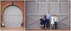 Downtown Richmond VA family photo session. Family of 5. RVA. Family of 5 pose. Richmond. Virginia. Tredegar Iron Works. Gray barn door. Red, white and blue. Family Photo Wardrobe Ideas. Kerry B Smith Photography. KBSphoto