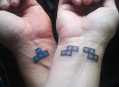 matching couple tattoos - tetris