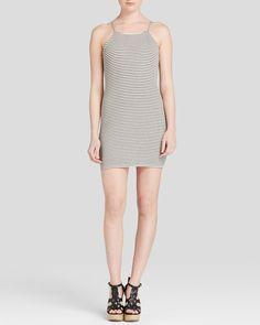 Aqua Dress - Ribbed Stripe Bodycon