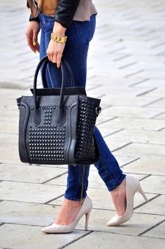 Studded Celine. Lord have mercy. I want one of these bags. Pink, black, or studded. Gah.