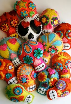 Large Sugar Skull Felt Ornament - Day of the Dead - Dia de los Muertos- Mexican Folk Art. $40.00, via Etsy.
