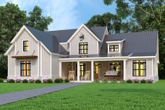 Looking for barndominium ideas? Then you have to check out this new modern farmhouse exterior. It gives you Southern style with a big front porch and a gable roof. Questions? Call 1-800-447-0027 today. #architect #architecture #buildingdesign #homedesign #residence #homesweethome #dreamhome #newhome #newhouse #foreverhome #interiors #archdaily #modern #farmhouse #house #lifestyle #designer Family House Plans, Best House Plans, New Home Plans, Porch House Plans, Two Story House Plans, Custom Home Plans, Modern Farmhouse Plans, Farmhouse Design, Country Farmhouse