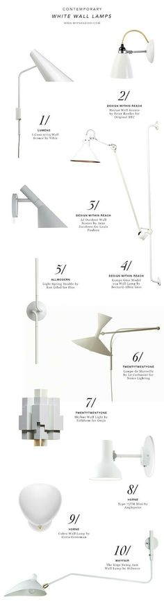 10 best contemporary and modern white wall lamps shopping picks by My Paradissi Contemporary Light Fixtures, Modern Sconces, Contemporary Home Decor, Interior Lighting, Lighting Design, Decorative Floor Lamps, White Wall Decor, Floor Standing Lamps, Light Architecture