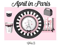 APRIL IN PARIS Deluxe Tableware Set for 12 - Paper Plates, Napkins, Placemats, Mini Favor Boxes, Ice Cream Cups - Birthday Party Baby Shower