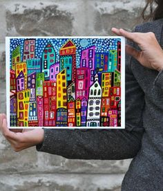 Manhattan Art NYC print  City Poster Painting by HeatherGallerArt, $16.00