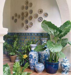 Blue and White porcelain in VERANDA. Interior Design by Mary McDonald.