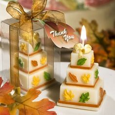 Autumn Leaf Wedding Cake Candle Favors