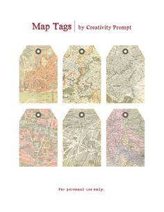 Free printable Map Tags by Avital via Creativity Prompt.