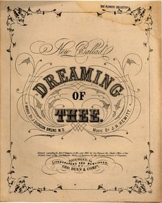 Dreaming of thee - Historic American Sheet Music - Duke Libraries Vintage Type, Looks Vintage, Vintage Prints, Vintage Art, Vintage Birds, Vintage Sheet Music, Vintage Sheets, Vintage Labels, Vintage Ephemera