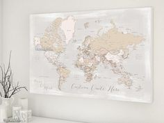 Personalized world map canvas print or push pin map pastels world custom quote printable world map with cities in rustic style color combination lucille gumiabroncs Image collections