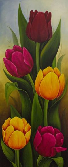 Flower Drawing 'Tulips II' - Artist Painting of Colorful Tulips from Mexico - Tulip Painting, Acrylic Painting Flowers, Artist Painting, Watercolor Flowers, Paint Flowers, Garden Painting, Tulips Flowers, Drawing Artist, Flower Art Drawing