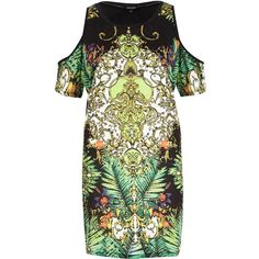 River Island Green scarf print cold shoulder t-shirt dress