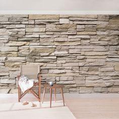 Steintapete - Vliestapete - Asian Stonewall - Steinmauer aus großen hellen Steinen - Fototapete Breit