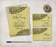 Gold Wedding Invitation Printable, Fall Wedding Invitation Suite, Digital File - Lace Invitation, Rustic Bridal Shower - pinned by pin4etsy.com