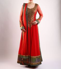 #Red Embroidered Cotton And #Net #Anarkali #Suit by #Rimple & #Harpreet #Narula at #Indianroots