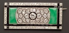 Art Deco Jadeite and Onyx and Diamond Brooch, France