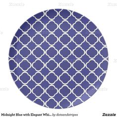 Midnight Blue with Elegant White Quatrefoil Plate