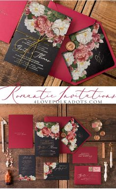 Most romantic wedding invitations for your Big Day. Glamorous and elegant suite in Marsala & Black colors with vintage flowers, beautiful calligraphy and touch of gold accents. Perfect detail for your dream wedding #wedding
