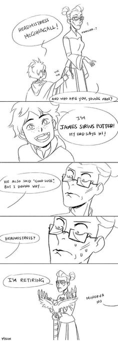 Minerva McGonagall meets James Sirius Potter -- James and Sirius. two of the greatest troublemakers of Hogwarts. Harry Potter Comics, Harry Potter World, Mundo Harry Potter, Harry Potter Puns, Harry Potter Universal, Harry Potter Imagines, Harry Potter Glasses, James Sirius Potter, Albus Severus Potter