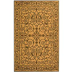 Hand-hooked Iron Gate Yellow/ Light Green Wool Rug (3'9 x 5'9)