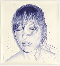 Juan Francisco Casas Photorealistic Portraits 7 blue using ball point pen