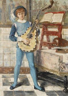 Victor Lagye (Belgian, 1825-1896). The Luteplayer