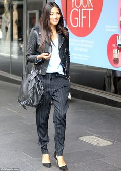 Just getting warmed up! Jessica Gomes was spotted strutting down the street as she arrived at the David Jones store in Sydney on Tuesday morning, ahead of the department store's fashion parade in the evening