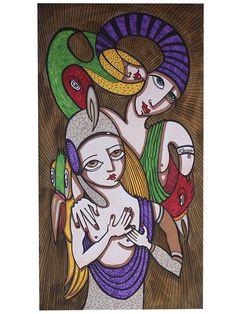 Dibujo Q-18 -  #Acuarela, #Arte, #BlancNoise, #Dibujo, #Morado, #Mujer, #Teresa_Cornejo, #Tinta, #Verde