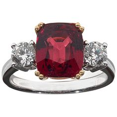 4.05 Carat Red Spinel Diamond Gold Three Stone Ring   From a unique collection of vintage engagement rings at https://www.1stdibs.com/jewelry/rings/engagement-rings/