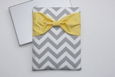 MacBook Pro / Air Sleeve, Custom Laptop Bag - Gray Chevron with Yellow Bow by AlmquistDesignStudio on Etsy