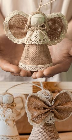 Burlap Christmas decorations are ideal for a Rustic Christmas decor or Farmhouse Christmas decor which is cozy & cute. Best Burlap Christmas ideas are here. Burlap Christmas Decorations, Diy Christmas Ornaments, Homemade Christmas, Christmas Angels, Rustic Christmas, Christmas Holidays, Present Christmas, Birthday Decorations, Simple Christmas