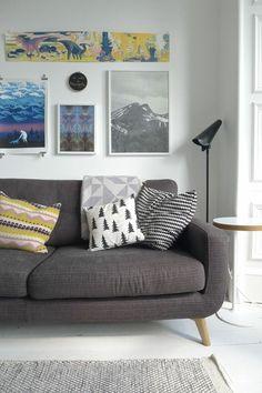 sofa grau dekokissen dekorieren wohnzimmer - Wohnzimmer Sofa Grau
