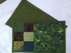 Deep green quilted mug rugs set of two mini by NannyGrans on Etsy