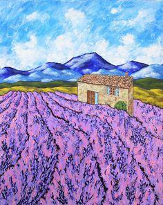 "Lavender Farm (ORIGINAL ACRYLIC PAINTING) 16"" x 20"" by Mike Kraus - art provence france french european union flowers houses homes farm sky"