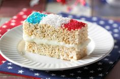 These crispy white chocolate sandwiches are the perfect pre-fireworks snack for the whole family. Rice Krispy Treats Recipe, Rice Crispy Treats, Krispie Treats, Rice Krispies, Yankee Doodle Dandy, Marshmallow Creme, Marshmellow Treats, Chocolate Morsels, Holiday Recipes