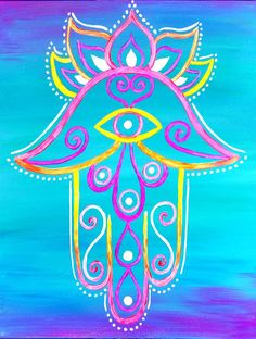 Hamsa are believed to provide protection from the 'evil eye'. Bright positive colors for extra protection! Byob Painting, Wine Painting, Fabric Painting, Painting Canvas, Hamsa Painting, Hippie Painting, Hamsa Art, Canvas Crafts, Diy Canvas