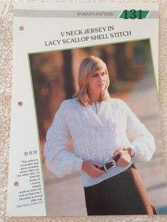 Creative Knitting, Scallop Shells, Basket Weaving, V Neck, Stitch, Pattern, Women, Full Stop, Patterns