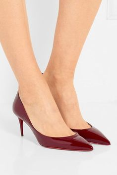 Christian Louboutin - Iriza 70 Patent-leather Pumps - Burgundy - IT39.5