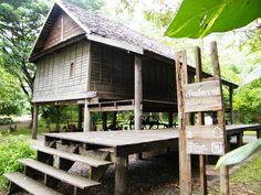เฮือนโคราช Thai House, Vernacular Architecture, Wooden House, Traditional Decor, House In The Woods, Condominium, Gazebo, Home Goods, Outdoor Structures