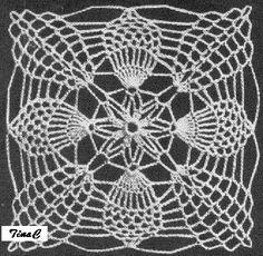 Totally Free Crochet Pattern Blog - Patterns: 1955 Pineapple Square 743 Free Crochet Pattern