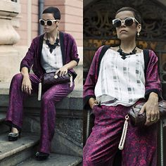 Priscila  Diniz - Bag Made With Pirarucu Leather, Diamonds And Pearls, Photography, Studed Pumps, Sunglasses On Sale >, Kimono, Pants And Blouse - Nylon mag