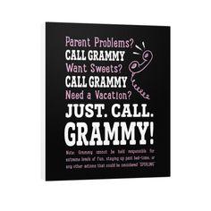 """""""Parent Problems? Call Grammy!"""" Vertical Canvas"""