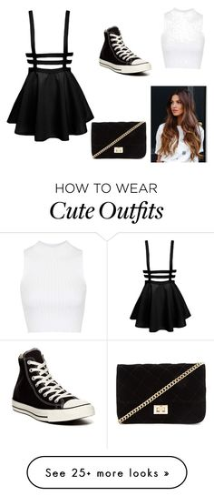 """Cute outfit"" by cameronl100 on Polyvore featuring Topshop, Converse and Forever 21"