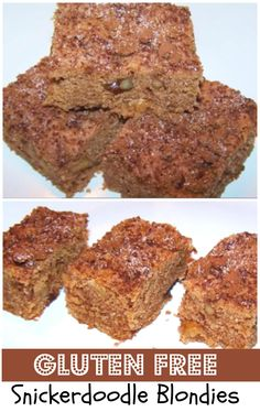 Gluten Free Snickerdoodle Blondies. Think of these blondies recipe as a cross between snickerdoodle cookies and classic brownies.  http://www.ifood.tv/recipe/gluten-free-snicker-doodle-blondies