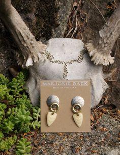 Tribal Marjorie Baer Mixed Metal Bone Arrow Earrings by StarShineVintage on Etsy