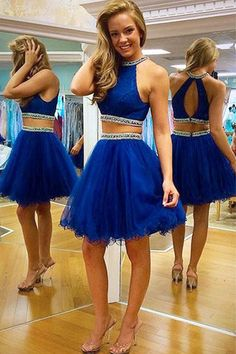 2016 homecoming dresses,two-pieces homecoming dresses,royal blue homecoming dresses,cheap two pieces party dresses for teens